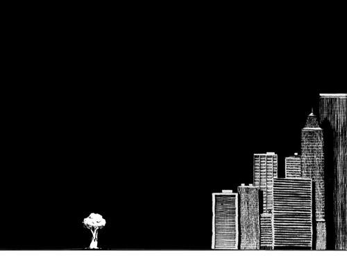 desenho sylvio de podestá árvore e prédio