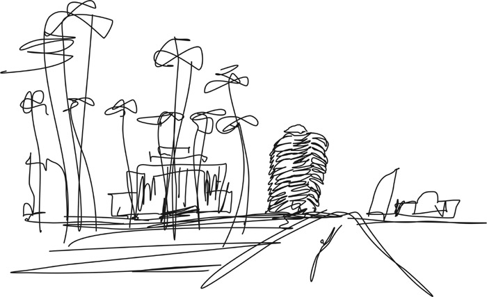 Desenho Prédio Niemeyer Praça Liberdade